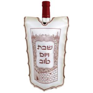 כיסוי לבקבוק יין משי מודפס ירושלים