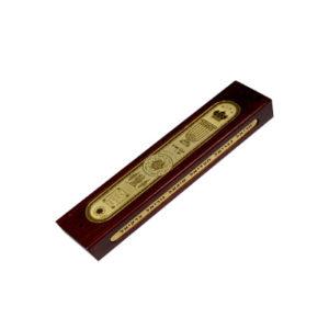 מזוזה עץ חום עיטור פלקטה זהב 15 ס''מ